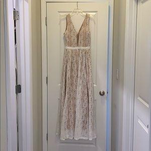 White lace maxi dress.